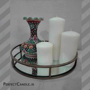 شمع استوانه محدب ست سفید
