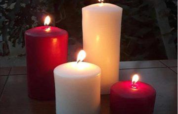 شمع استوانه محدب ست 4 تایی قرمز و سفید
