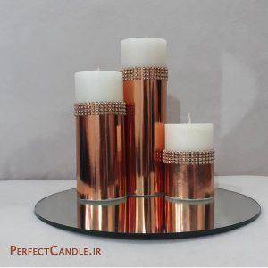 شمع استوانه ای طلایی