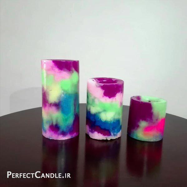 شمع استوانه ای رنگین کمان