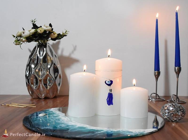 ست ۳ تایی شمع چشم نظر سفید