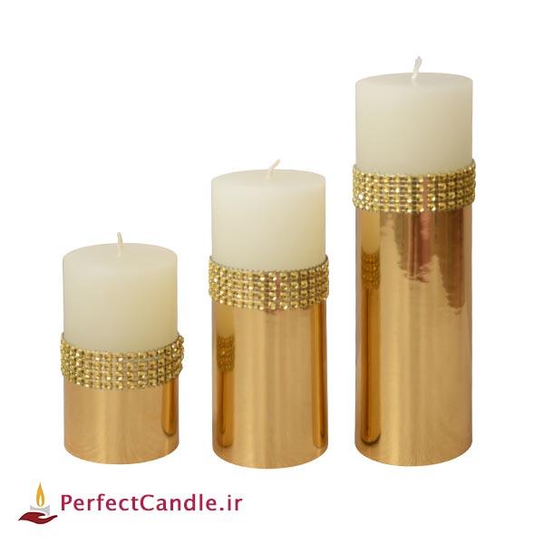 ست ۳ تایی شمع استوانه ای طلایی