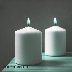 شمع استوانه ای محدب ست 2 تایی سفید