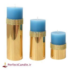 ست ۳ تایی شمع استوانه ای آبی طلایی