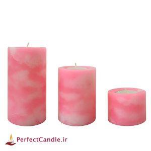 شمع استوانه ای مرمر صورتی