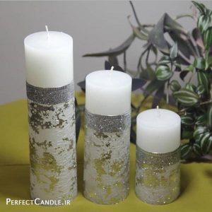 شمع استوانه ای سفید نقره ای - فروشگاه شمع پرفکت کندل