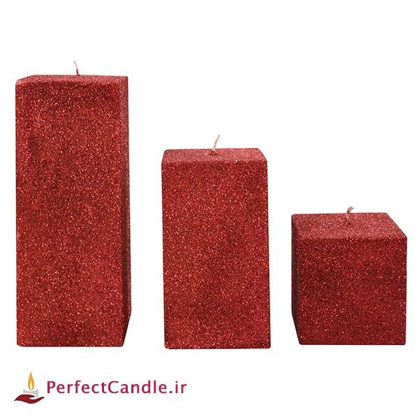 ست ۳ تایی شمع مکعبی اکلیلی قرمز
