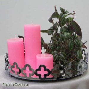 شمع استوانه ای صورتی