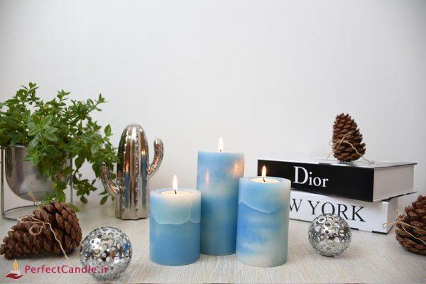 شمع استوانه ای مرمر آبی تیفانی