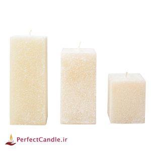 ست ۳ تایی شمع مکعب اکلیلی سفید
