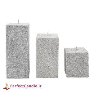 ست ۳ تایی شمع مکعب اکلیلی نقره ای
