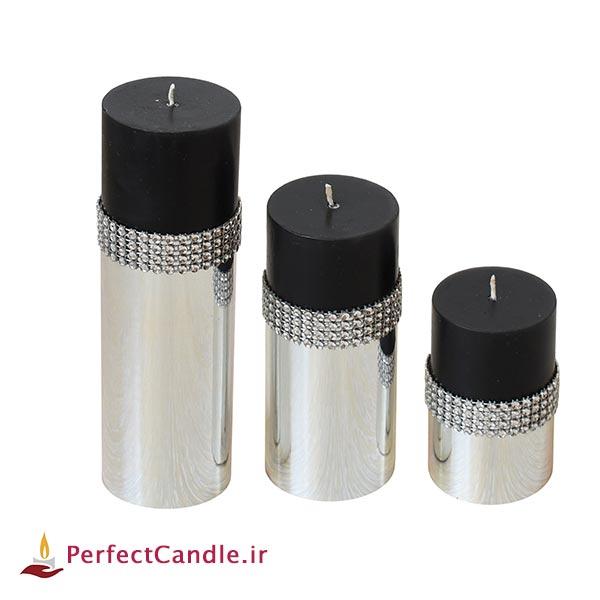 ست ۳ تایی شمع استوانه ای مشکی نقره ای