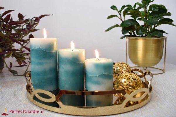 ست ۳ تایی شمع مرمر سبز