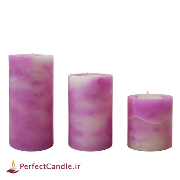 شمع استوانه ای مرمر بنفش