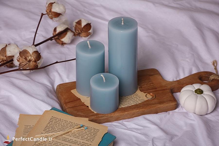 ست ۳ تایی شمع استوانه ای آبی تیفانی