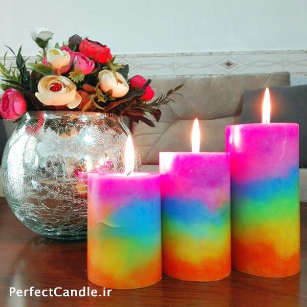 شمع استوانه ای رنگین کمان آسمان روشن