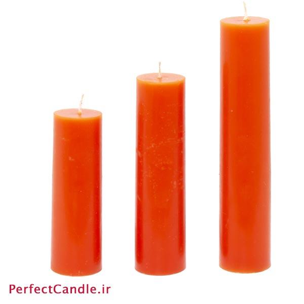ست ۳ تایی شمع استوانه ای نارنجی