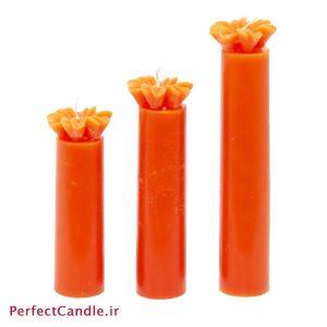 ست ۳ تایی شمع استوانه ای نارنجی گلدار