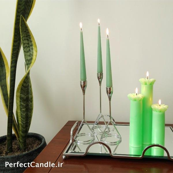 جا شمعی ۳ تایی رایس نقره ای