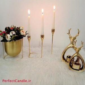 جا شمعی ۳ شاخه تخت طلایی