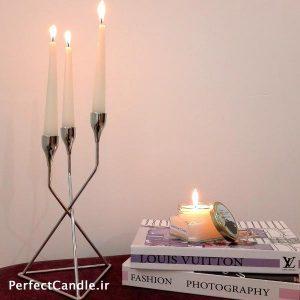 جا شمعی ۳ شاخه کانواس نقره ای