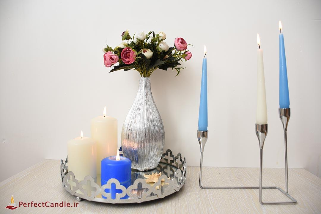 جا شمعی ۳ شاخه تخت نقره ای