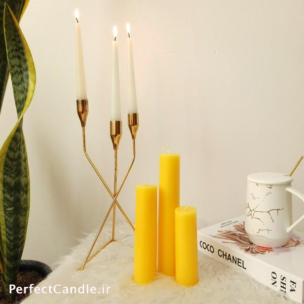 جا شمعی ۳ شاخه کانواس طلایی