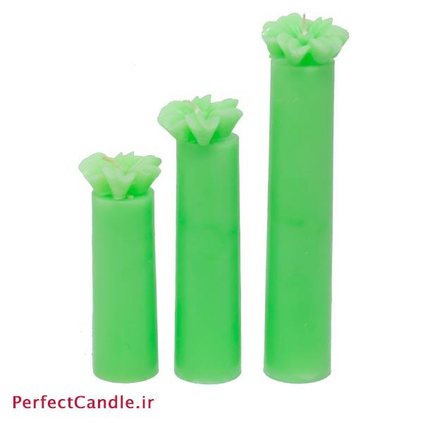 ست ۳ تایی شمع استوانه ای سبز گلدار