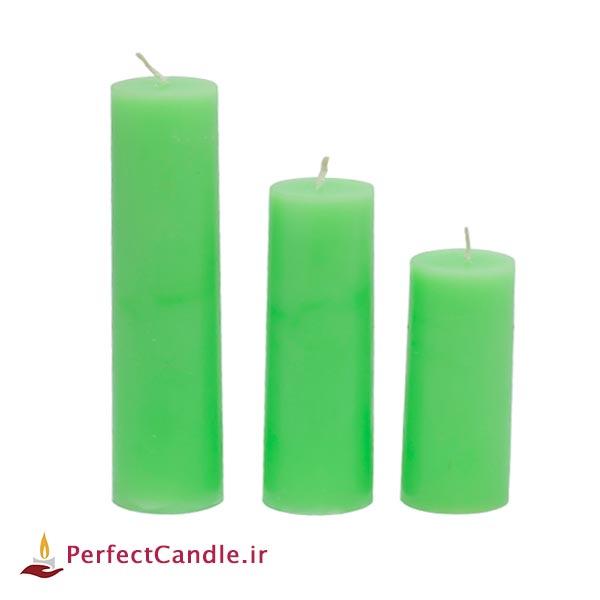 ست ۳ تایی شمع استوانه ای سبز