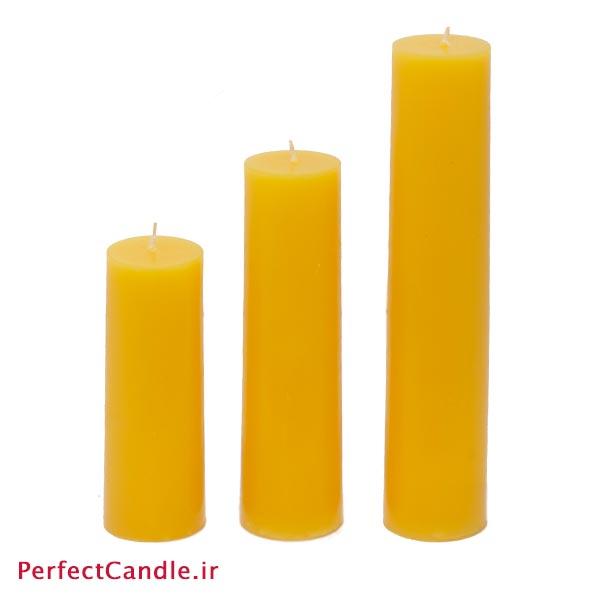 ست ۳ تایی شمع استوانه زرد