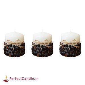 ست ۳ تایی شمع استوانه ای قهوه