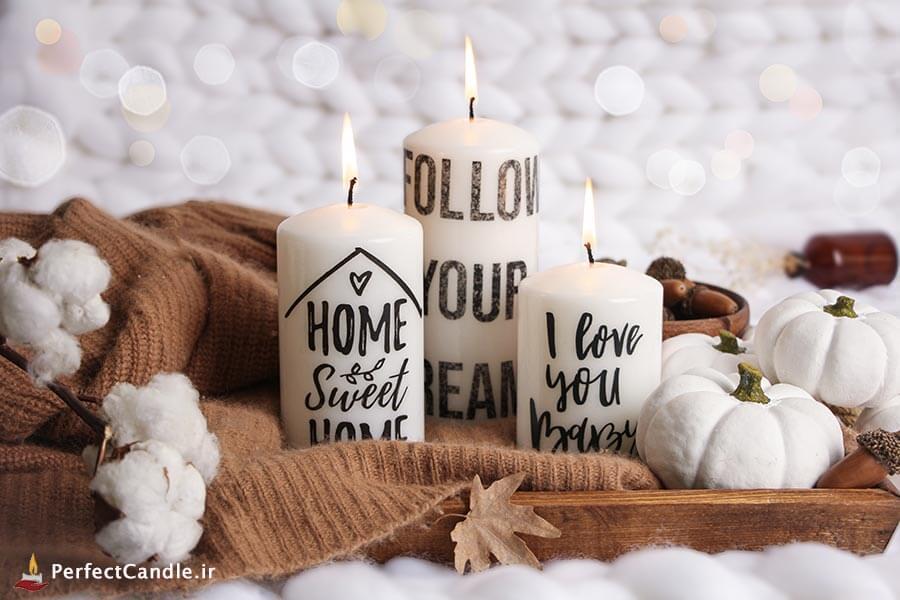 شمع محدب طرح Sweet Home