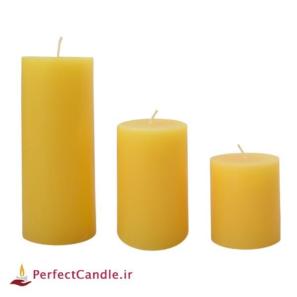 ست ۳ تایی شمع استوانه ای زرد