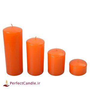 ست ۴ تایی شمع محدب نارنجی