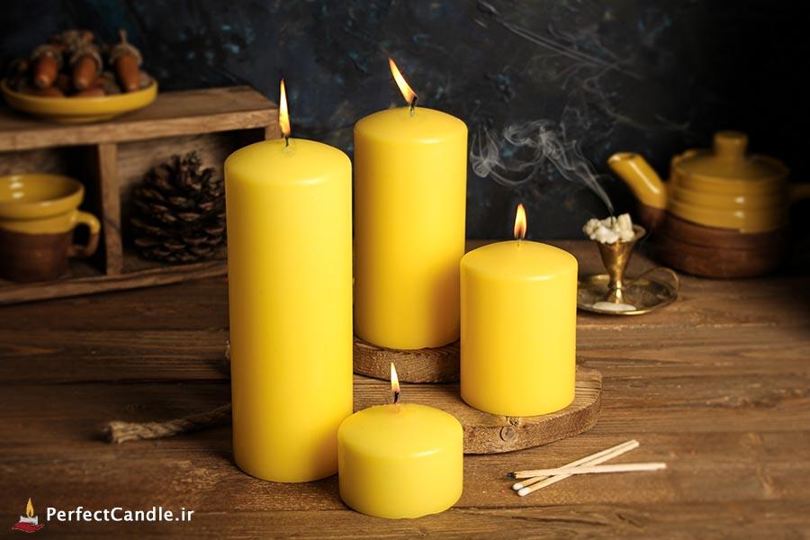 ست ۴ تایی شمع محدب زرد