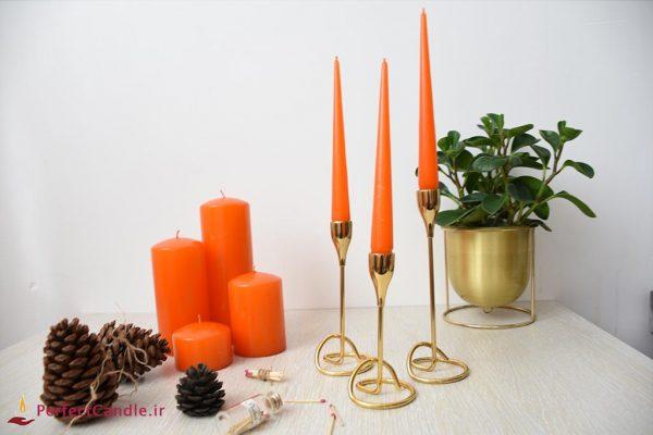 بسته شمع قلمی نارنجی ۲۰ سانت پرفکت