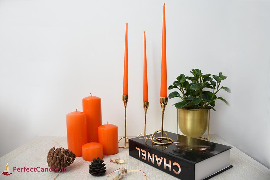 بسته شمع قلمی نارنجی ۳۰ سانت پرفکت