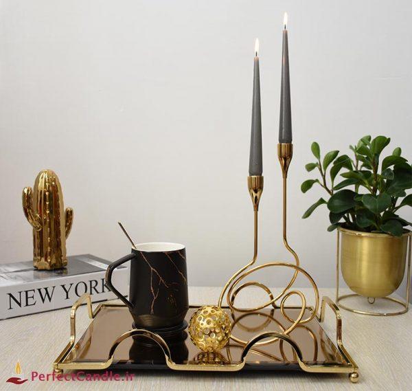 شمع قلمی طوسی ۲۰ سانتی متر پرفکت