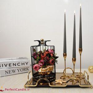 شمع قلمی طوسی ۳۰ سانتی متر پرفکت