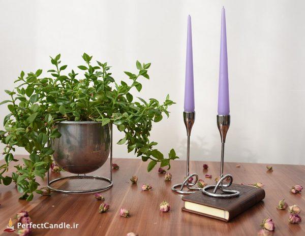 شمع قلمی یاسی ۲۰ سانتی متر پرفکت