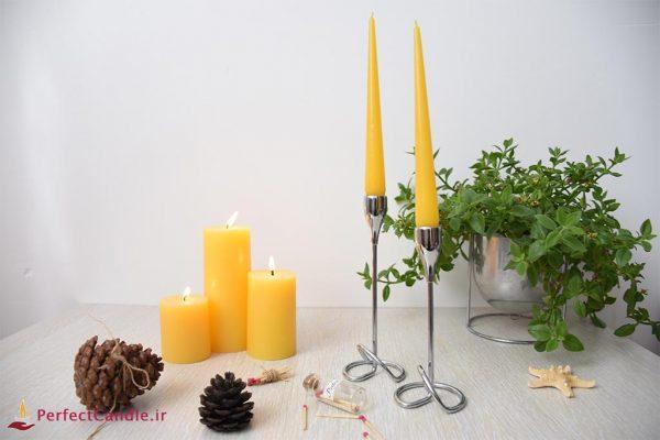 شمع قلمی زرد ۲۰ سانت پرفکت