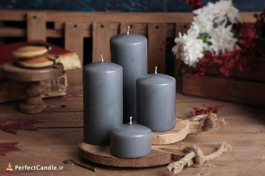ست ۴ تایی شمع محدب طوسی پررنگ
