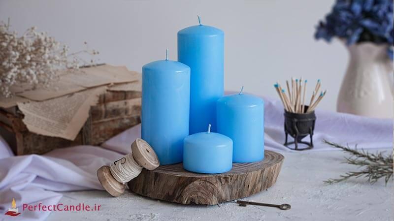 ست ۴ تایی شمع محدب آبی روشن