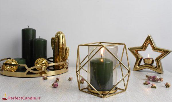 3-cylinder golden candle holder