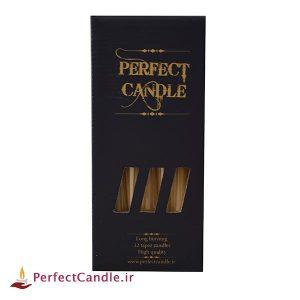 بسته شمع قلمی عسلی ۲۰ سانتی متر پرفکت