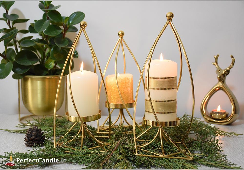 جا شمعی ۳ تایی استوانه طلایی