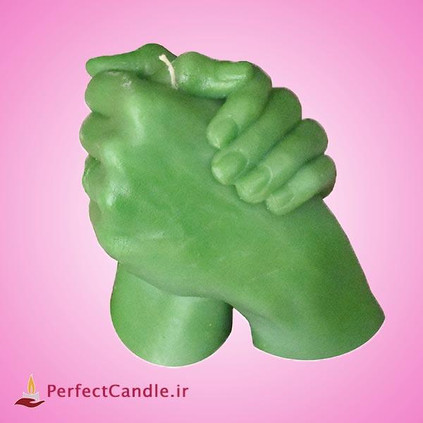 شمع لاکچری دست سبز رنگ