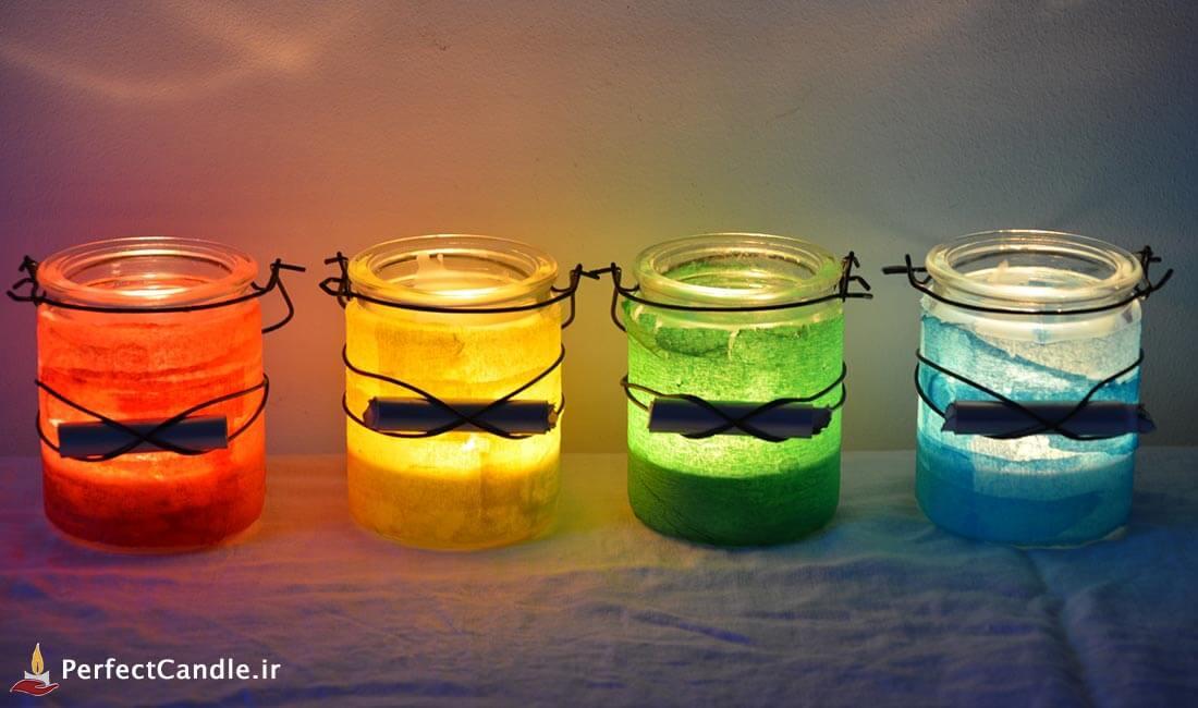 آموزش ساخت شمع لیوانی رنگی