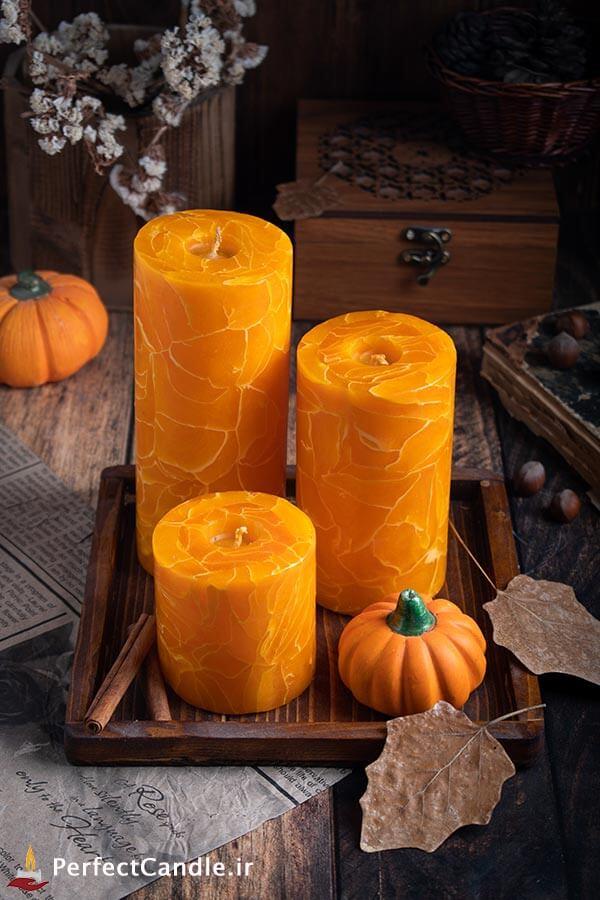 ست شمع استوانه پاییز رویایی - شمع لاکچری