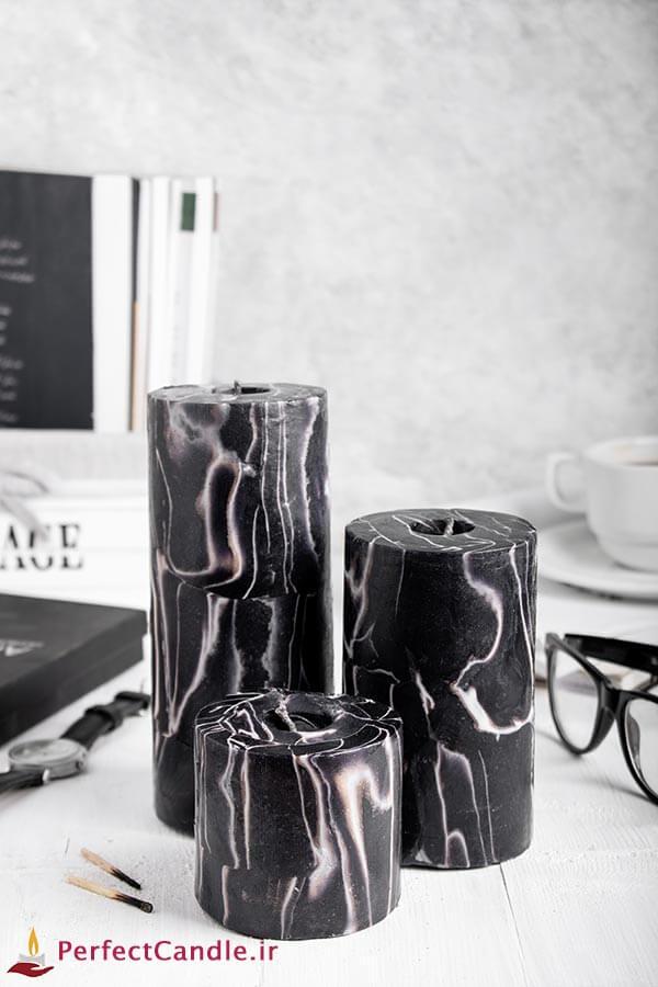 ست شمع استوانه گلدن بلک - شمع لاکچری